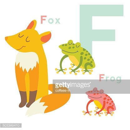 F letter animals set. English alphabet. Vector illustration