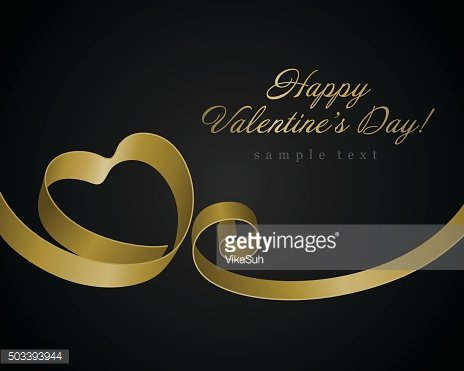 Heart from golden shiny ribbon Valentine's day Greeting Card