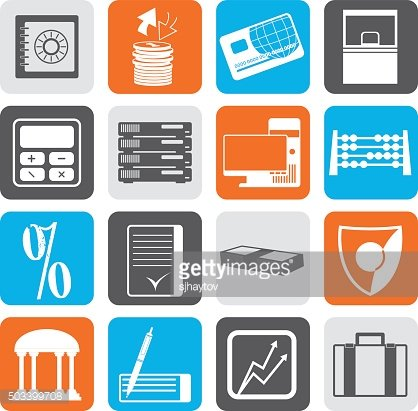 Black bank, business, finance and office icons