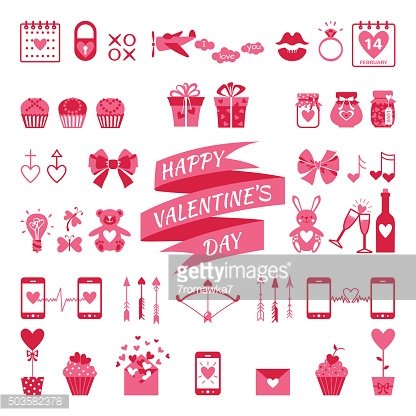 Valentine's flat elements for your design.