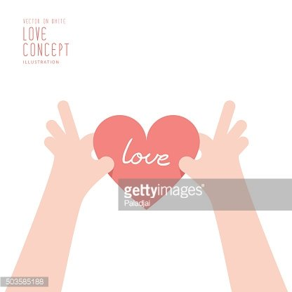 Hand is holding a heart that will be given.
