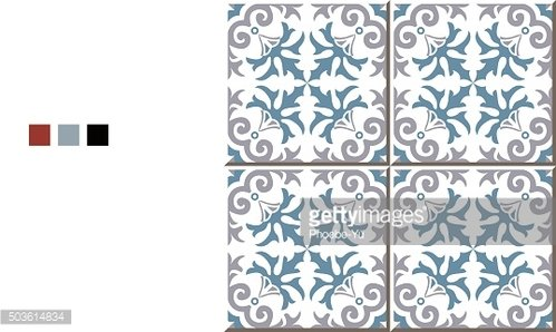Vintage seamless wall tiles of spiral plant flower. Moroccan, Portuguese.