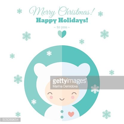 Greeting card with fun child for Christmas in flat