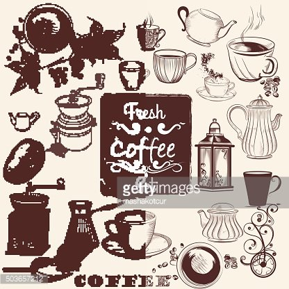 Set of vector hand drawn coffee elements for design