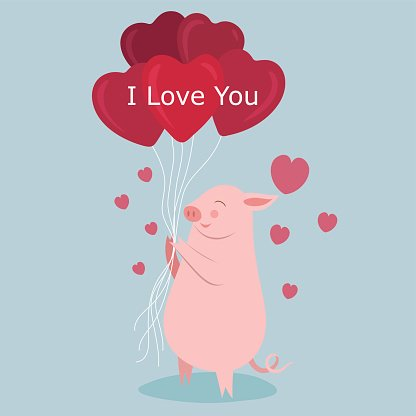 I Love You Cute Pig Lover With Balloon Valentine S Day Premium