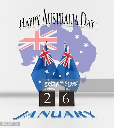 Australia Day greetings. Two Australian table flags with date an