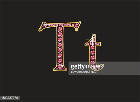 Tt Ruby Jeweled Font with Gold Channels