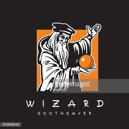 Wizard. Old man with magic crystal ball.