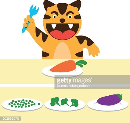 Little vegan tiger and plates with vegetables. Vector illustration