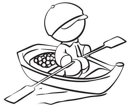 Line Drawing Of Fisherman With Boat And Food Premium Clipart