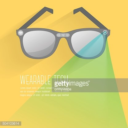 Smart glasses wearable technology with icons set, Modern flat design
