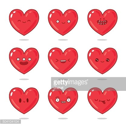 Cute and funny red hearts with different emotions