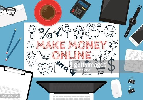 Make money online concept with hand drawing icons