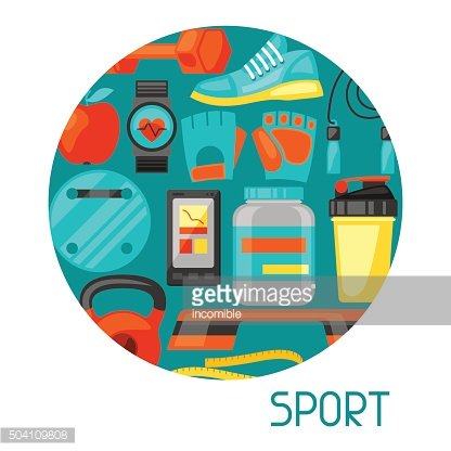 Sports and healthy lifestyle background with fitness icons. Image can
