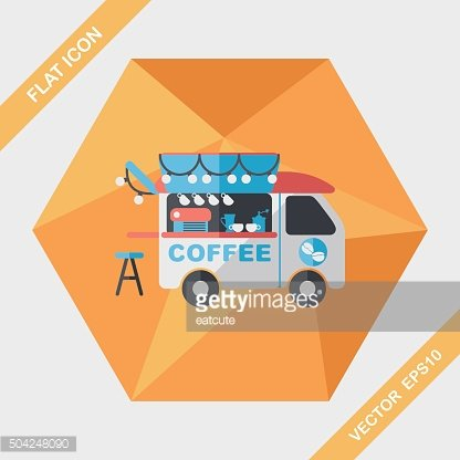 Coffee shop car flat icon with long shadow,eps10