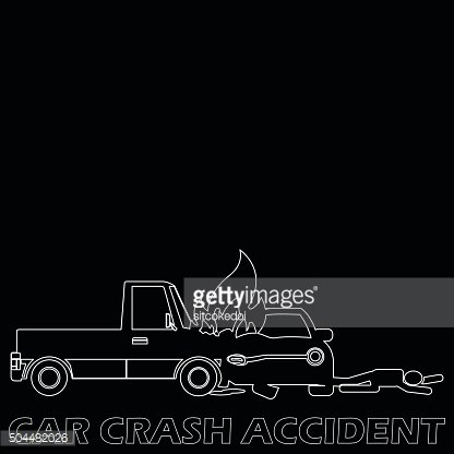 Side car crash and accident by white stripe