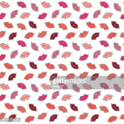 Seamless vector background of colored lips