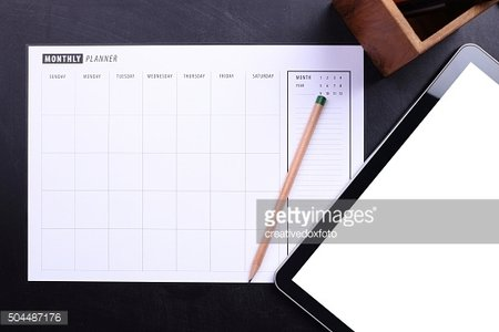 Planner schedule and blank screen tablet