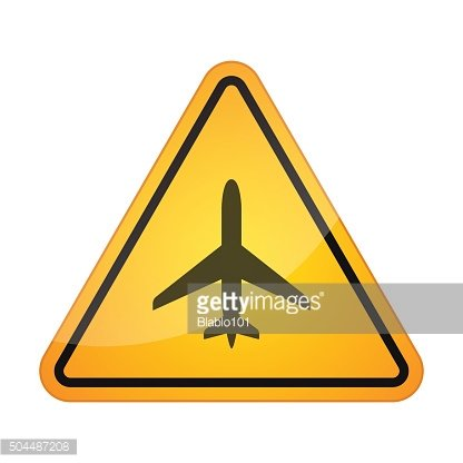 Danger signal icon with a plane