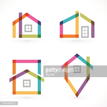 Creative house abstract real estate icons set