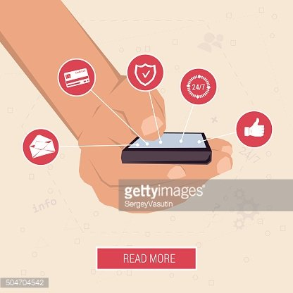 Hand with the smart phone surrounded by icons