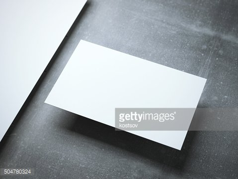 Blank business card on the metal floor