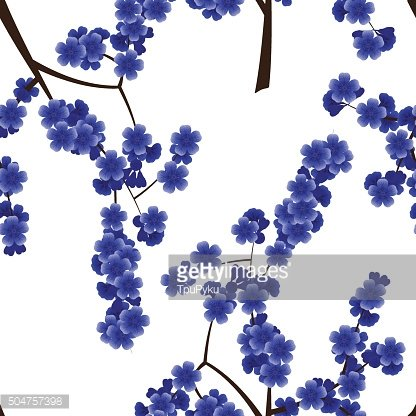 Seamless pattern with blue cherry flowers