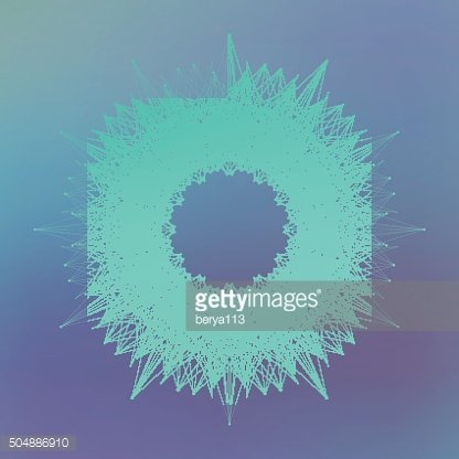Geometric abstract form with connected line and dots. Graphic background