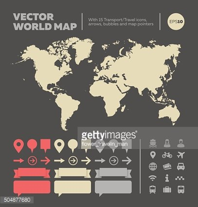 World map with infographic elements