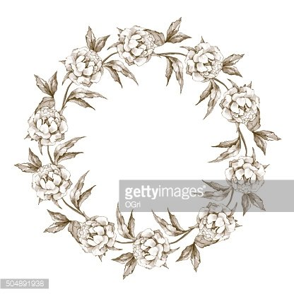 Ink flowers. Floral wreath 2 in vector