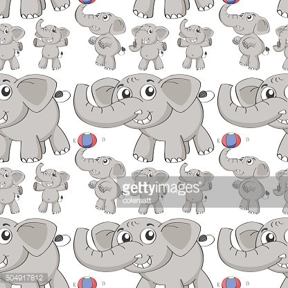 Seamless different post of elephant