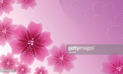 Set of pink flowers on background with music lines