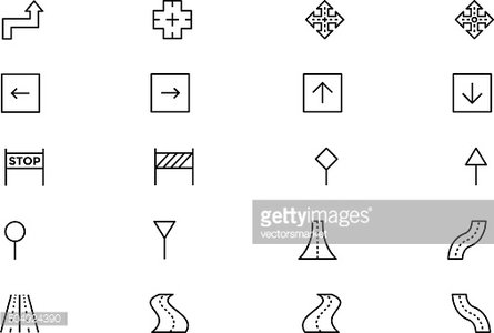 Road Outline Vector Icons 5
