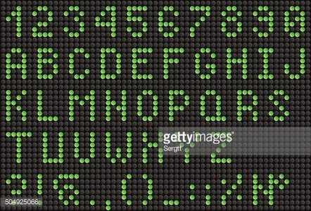 Green LED alphabet and numbers, display font