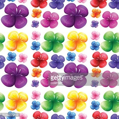 Seamless colorful flowers on white background