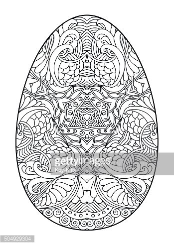 Zentangle black and white decorative Easter egg.