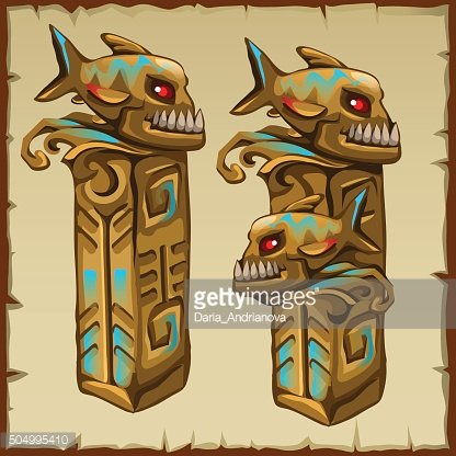Two columns with piranhas and ancient symbols