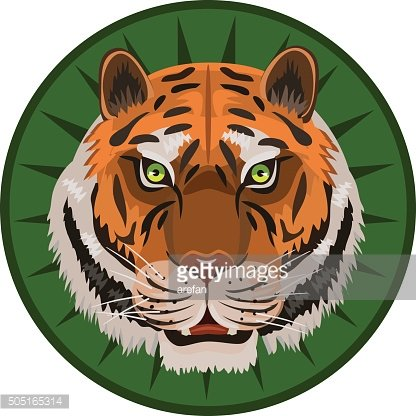 icon tiger on green