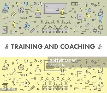 Line design concept web banner for training and coaching