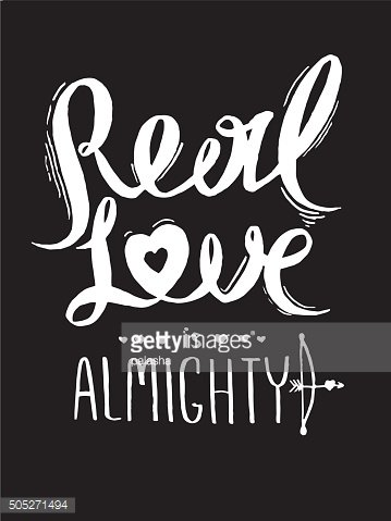Real love is almighty. Romantic poster for Valentine's Day.