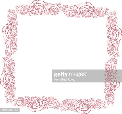 vector frame - classic retro pink roses
