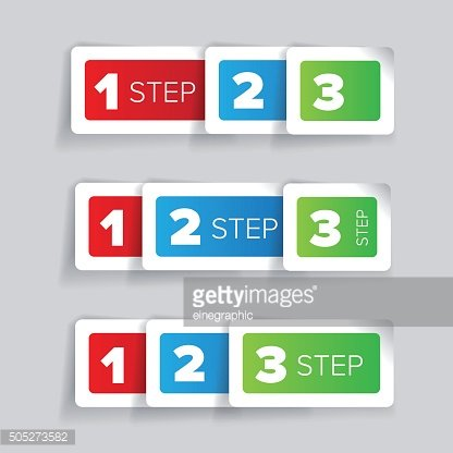 One two three - progress steps vector label