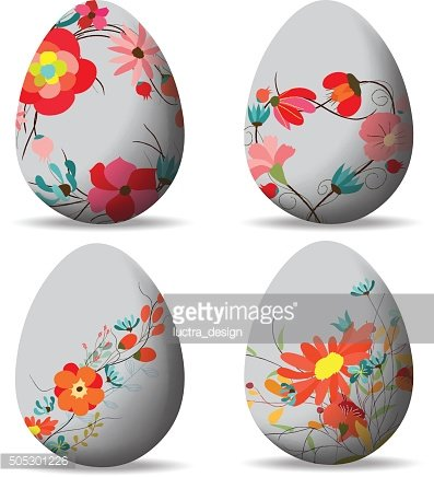 Set Easter eggs and happy easter