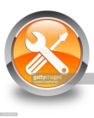 Tools icon glossy orange round button