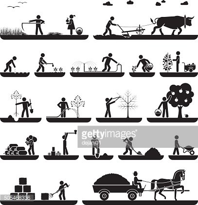 Set of pictogram icons presenting agricultural work