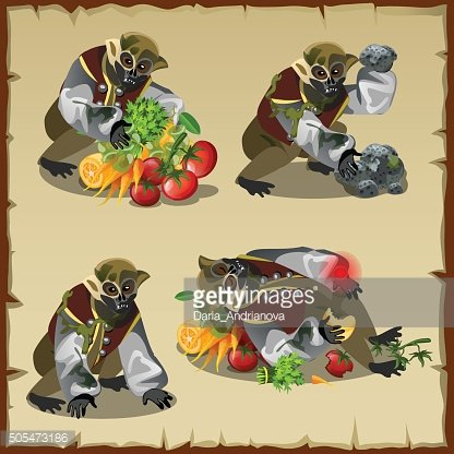 Four monkey monster with the loot food