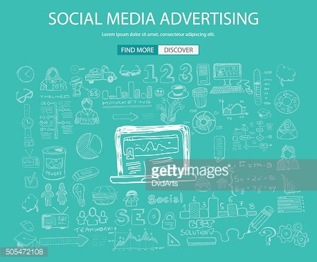 Social Media Advertising concept with Doodle design style: