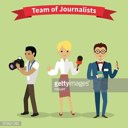 Journalists Team People Group Flat Style