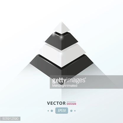 3D pyramid business Infographic black and white color