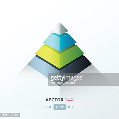 3D pyramid business Infographic green blue gray color